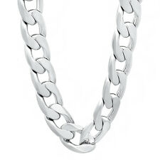 Men's 13 mm Wide Silver Plated Cuban Link Chain Chunky Curb Hip Hop Necklace