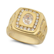 Men�s Cubic Zirconia Square Top Ring Heavy Plated with 14k Yellow Gold