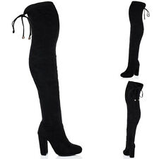 Womens Lace Up Pointed Toe Block Heel Over Knee Tall Boots Sz 5-10