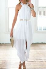 Women Sheer Chiffon Folds Sleeveless Hi Low Loose Dress with Delicate Gold Belt