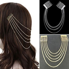 Women's Fashion Gold Metal Head Chain Leaves Comb Headband Headpiece Hair Band W