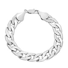 Mens Heavy 11.5mm 14k White Gold Layered Rhodium Plated Cuban Link Curb Bracelet