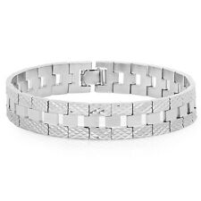 Mens 14k White Gold Silver Plated/Layered/Plated Classic Link Bracelet