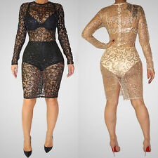 Women's Fashion Sexy See-Through Sequined Net Bandage Party Clubwear MINI Dress