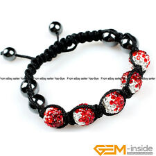 5 Beads 10mm Pave Rhinestone Crystal Gradient Color Ball Hand-Woven Bracelet
