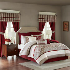Luxurious Red Taupe White Comforter Bedskirt Curtain Valance 24 pcs Full set