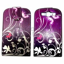 PURPLE BUTTERFLY SWIRL PRINT PU LEATHER FLIP CASE COVER FOR SAMSUNG GALAXY S3