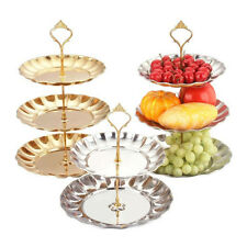 3 Tier Stand Stainless Steel Crown Cake Plate Dessert Fruit For Wedding Party