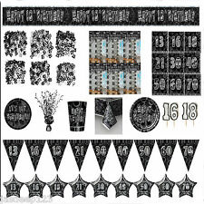 Black and Silver Glitz Aged Birthday Partyware Decorations Tableware Ages 13-80