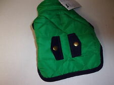 Green Quilted Navy Trim Pocket Jacket Dog XXS New pet petco Pup Crew coat puppy