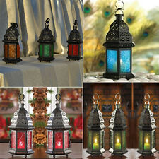 Moroccan Vintage Glass Metal Delight Garden Candle Holder Hanging Lantern Decor