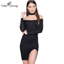 Sexy Womens Off Shoulder Long Sleeve Bodycon Slit Knitted Mini Dress Club Party