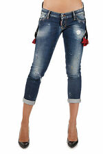DSQUARED2 New woman Blue PAT Stretch Denim Jeans Cropped Pants made in Italy NWT