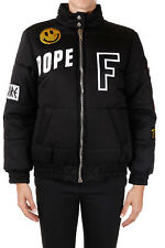 FILLES A PAPA New Woman Black Patch Padded Jacket Coat Paillettes NWT