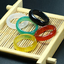 Hot Fashion Unisex Jade Glossy Colourful Natural Agate Gemstone Ring Jewelry