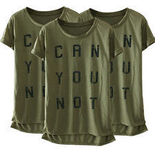 Fashion Women's Letter Print Short Sleeve Casual Loose Ladies T Shirt Tops