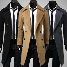 Mens Winter Stylish Double Breasted Trench Coat Long Jacket Outwear Overcoat