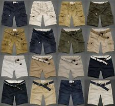 ABERCROMBIE & FITCH MENS SHORTS KHAKI CARGO PREPPY CLASSIC BELT POCKETS NWT NEW
