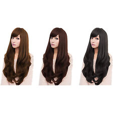 Women's Long Light Brown Curly Wavy Full Wigs Party Hair Cosplay Wig HY