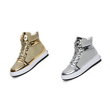 Womens Sequins Leather Lace Up Runnin Jogging Shoes High-top Lace Up Sneakers HY