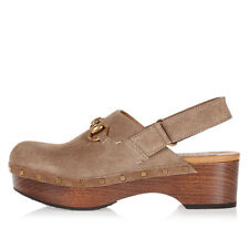 GUCCI New woman Beige Suede Leather Clogs Shoes Made in Italy NWT