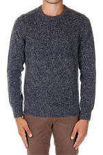 HERITAGE New Men blue Round Neck Virgin Wool Blend Sweater Made Italy NWT