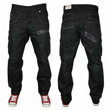 """Mens Black Tapered Fit Cargo Jeans Button Fly Denim Combat Pants Size 30""""-40"""""""