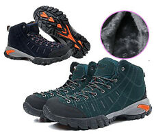 Mens Outdoor Velvet Warm High Top Leather Casual Sports Climbing Athletic Shoes