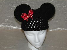 Minnie Mouse Ears Bow Beanie Hat Handmade Crocheted
