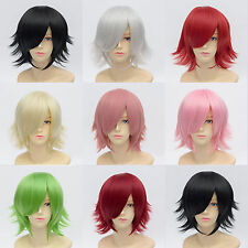 Unisex Cosplay Wig 30cm Length Curl up Back Short Straight Wig with Free Hairnet