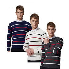Fashion Korea Crewneck Striped Jumper  Fall Men Long sleeve Polyester Sweaters