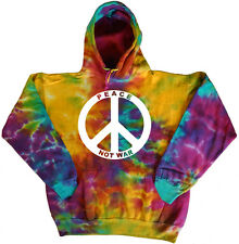 Men's tie dye sweatshirt dyed hoodie peace not war sign sweat shirt hoody