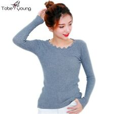 Lady Women Solid Long Sleeve Pullover Sweater Slim Knit Top Warm Jumper Cardigan