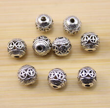 12/25/50pcs wholesale:ancient beautiful Tibet silver Peace sign interval beads