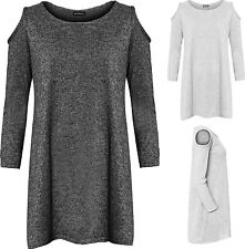 Womens Plus Knitted Flared Top Ladies Long Sleeve Cut Out Cold Shoulders Plain