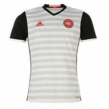 Adidas Denmark Away Jersey 2016 Mens White/Black Football Soccer Top Shirt