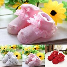 Cute Newborn Infant Toddler Baby Girls Anti-slip Socks Slipper Shoes Boots 0-12M