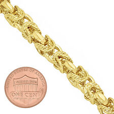Men's 8mm 14k Yellow Gold-Plated Fancy 3D Textured Byzantine Chain