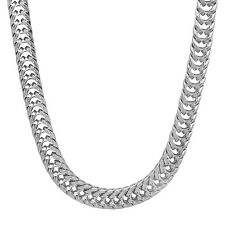 Men's 7 mm Rhodium Plated Foxtail Chain Flat Silver Look Franco Hip Hop Necklace
