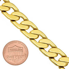 Men's 11.5mm Wide 14k Yellow Gold-Plated Flat Classic Curb Link Chain