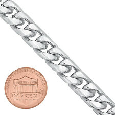 Heavy 9mm Polished 14K White Gold Plated Miami Cuban Link Curb Necklace Chain