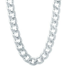 8mm Rhodium Plated Flat Cuban Link Curb Chain Necklace