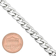 Men's 7mm Classic Polished 14K White Gold Rhodium Layered Open Curb Link Chain