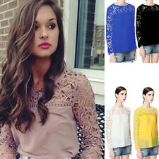 Sexy Womens Chiffon Long Sleeve Round Neck Lace See-Through Shirt Tops Blouse