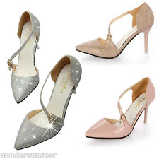 Womens Pointed Toe Pumps Prom Shoes Glitter Evening Party Stiletto High Heels