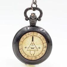 Antique Gravity Falls Bill Cipher Quartz Pocket Watch Analog Pendant Necklace