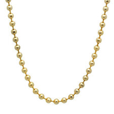 Men's 14k Gold Plated Bead Chain Unisex Thin Dog Tag Ball Necklace