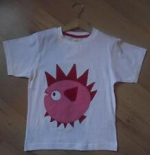 MINI BODEN Boys Clothes 3-7 Years White Spikey Fish Cotton T-Shirt Top NEW