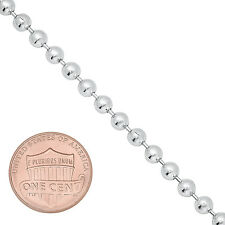 4mm Real .925 Italian Sterling Silver Military Long Dog Tag Ball Bead Neck Chain