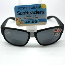 Foster Grant Senator Mens Sun Readers Black Framed 2 in 1 Sun Glasses